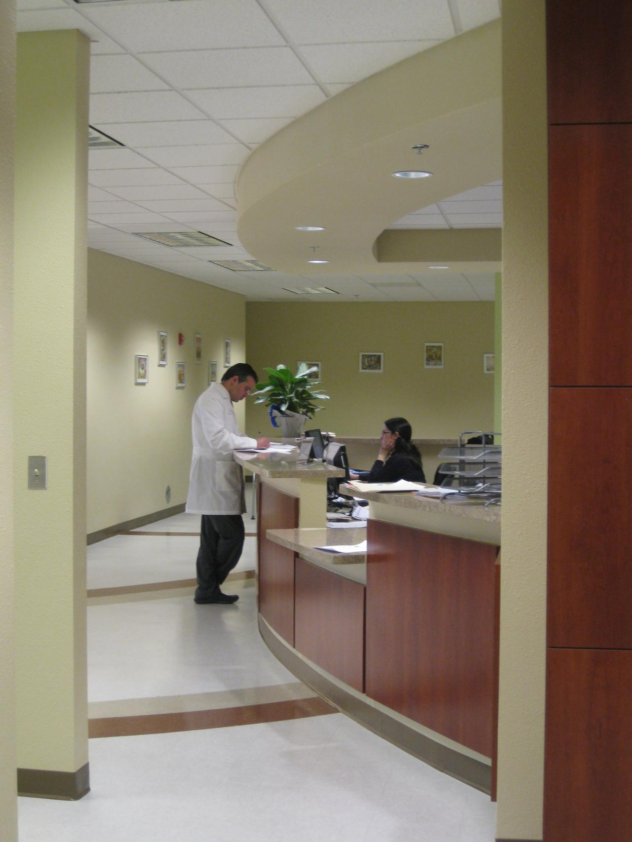 doctor at front desk